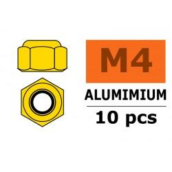 GF-0400-040 Ecrou aluminium autobloquant - M4 - Or - 10 pcs