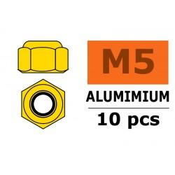 GF-0400-050 Ecrou aluminium autobloquant - M5 - Or - 10 pcs