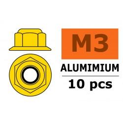 GF-0401-030 Ecrou aluminium autobloquant avec flasque - M3 - Or - 10 pcs