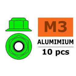 GF-0401-031 Ecrou aluminium autobloquant avec flasque - M3 - Vert - 10 pcs