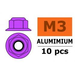 GF-0401-032 Ecrou aluminium autobloquant avec flasque - M3 - Violet - 10 pcs