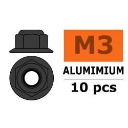 GF-0401-033 Ecrou aluminium autobloquant avec flasque - M3 - Gun Metal - 10 pcs