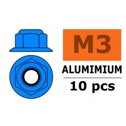 GF-0401-034 Ecrou aluminium autobloquant avec flasque - M3 - Bleu - 10 pcs