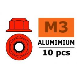 GF-0401-035 Ecrou aluminium autobloquant avec flasque - M3 - Rouge - 10 pcs