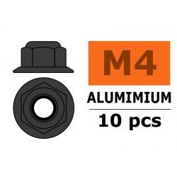 GF-0401-043 Ecrou aluminium autobloquant avec flasque - M4 - Gun Metal - 10 pcs
