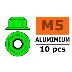 GF-0401-051 Ecrou aluminium autobloquant avec flasque - M5 - Vert - 10 pcs