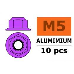 GF-0401-052 Ecrou aluminium autobloquant avec flasque - M5 - Violet - 10 pcs