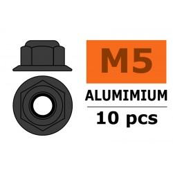 GF-0401-053 Ecrou aluminium autobloquant avec flasque - M5 - Gun Metal - 10 pcs