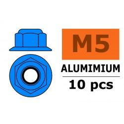 GF-0401-054 Ecrou aluminium autobloquant avec flasque - M5 - Bleu - 10 pcs