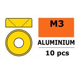 GF-0405-030 Rondelles aluminium - pour vis M3 à tête conique – Ø 8mm - Or - 10 pcs