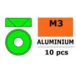 GF-0405-031 Rondelles aluminium - pour vis M3 à tête conique - Ø 8mm - Vert - 10 pcs