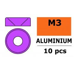 GF-0405-032 Rondelles aluminium - pour vis M3 à tête conique - Ø 8mm - Violet - 10 pcs