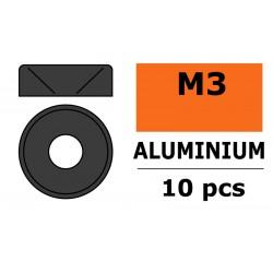 GF-0405-033 Rondelles aluminium - pour vis M3 à tête conique - Ø 8mm - Gun Metal - 10 pcs