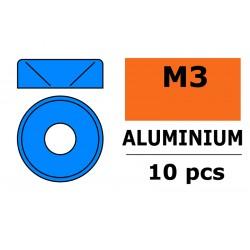 GF-0405-034 Rondelles aluminium - pour vis M3 à tête conique - Ø 8mm - Bleu - 10 pcs
