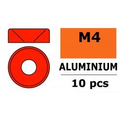GF-0405-045 Rondelles aluminium - pour vis M4 à tête conique - Ø10mm - Rouge - 10 pcs