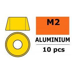 GF-0406-010 Rondelles aluminium - pour vis M2 à tête cylindrique - Ø6mm - Or - 10 pcs