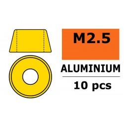 GF-0406-020 Rondelles aluminium - pour vis M2.5 à tête cylindrique - Ø7mm - Or - 10 pcs
