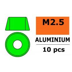 GF-0406-021 Rondelles aluminium - pour vis M2.5 à tête cylindrique - Ø7mm - Vert - 10 pcs