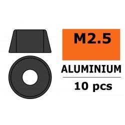 GF-0406-023 Rondelles aluminium - pour vis M2.5 à tête cylindrique - Ø7mm - Gun Metal - 10 pcs