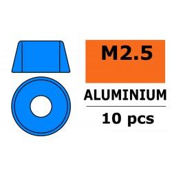 GF-0406-024 Rondelles aluminium - pour vis M2.5 à tête cylindrique - Ø7mm - Bleu - 10 pcs