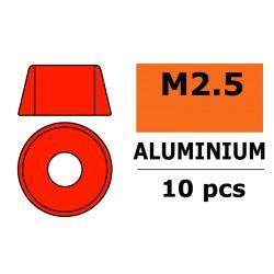 GF-0406-025 Rondelles aluminium - pour vis M2.5 à tête cylindrique - Ø7mm - Rouge - 10 pcs