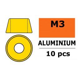 GF-0406-030 Rondelles aluminium - pour vis M3 à tête cylindrique - Ø8mm - Or - 10 pcs