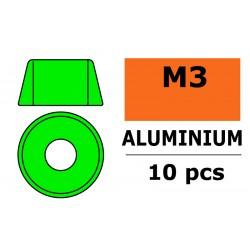 GF-0406-031 Rondelles aluminium - pour vis M3 à tête cylindrique - Ø8mm - Vert - 10 pcs