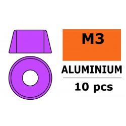 GF-0406-032 Rondelles aluminium - pour vis M3 à tête cylindrique - Ø8mm - Violet - 10 pcs