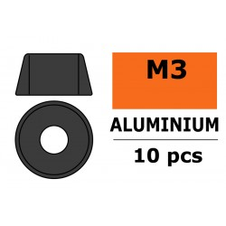 GF-0406-033 Rondelles aluminium - pour vis M3 à tête cylindrique - Ø8mm - Gun Metal - 10 pcs