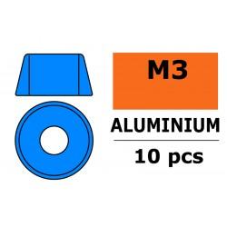 GF-0406-034 Rondelles aluminium - pour vis M3 à tête cylindrique - Ø8mm - Bleu - 10 pcs
