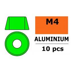 GF-0406-041 Rondelles aluminium - pour vis M4 à tête cylindrique - Ø10mm - Vert - 10 pcs