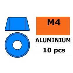 GF-0406-044 Rondelles aluminium - pour vis M4 à tête cylindrique - Ø10mm - Bleu - 10 pcs