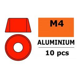 GF-0406-045 Rondelles aluminium - pour vis M4 à tête cylindrique - Ø10mm - Rouge - 10 pcs