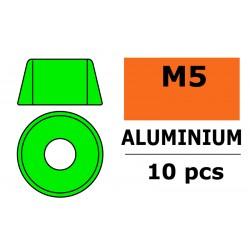 GF-0406-051 Rondelles aluminium - pour vis M5 à tête cylindrique - Ø12mm - Vert - 10 pcs