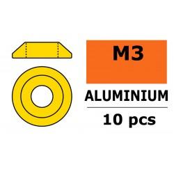 GF-0407-020 Rondelles aluminium - pour vis M3 à tête bombée –Ø10mm - Or - 10 pcs