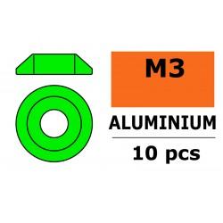 GF-0407-021 Rondelles aluminium - pour vis M3 à tête bombée – Ø10mm - Vert - 10 pcs