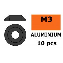 GF-0407-023 Rondelles aluminium - pour vis M3 à tête bombée -Ø10mm - Gun Metal - 10 pcs