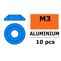 GF-0407-024 Rondelles aluminium - pour vis M3 à tête bombée – Ø 10mm - Bleu - 10 pcs