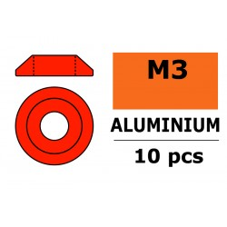 GF-0407-025 Rondelles aluminium - pour vis M3 à tête bombée – Ø 10mm - Rouge - 10 pcs
