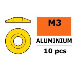 GF-0407-030 Rondelles aluminium - pour vis M3 à tête bombée – Ø 15mm - Or - 10 pcs