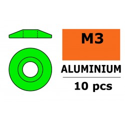 GF-0407-031 Rondelles aluminium - pour vis M3 à tête bombée – Ø 15mm - Vert - 10 pcs