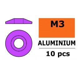 GF-0407-032 Rondelles aluminium - pour vis M3 à tête bombée – Ø 15mm - Violet - 10 pcs