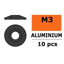 GF-0407-033 Rondelles aluminium - pour vis M3 à tête bombée – Ø 15mm - Gun Metal - 10 pcs