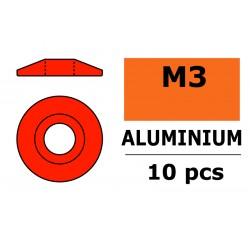 GF-0407-035 Rondelles aluminium - pour vis M3 à tête bombée - Ø 15mm - Rouge - 10 pcs