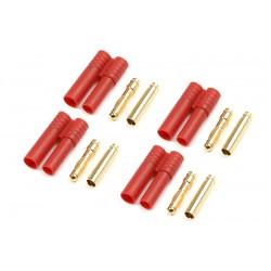 GF-1001-003 Connecteur - 4.0mm - Contact or avec fiche plastique - 4 pcs