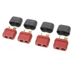 GF-1006-012 Connecteur - Deans - Contact or - avec capuchon - Femelle - 4 pcs