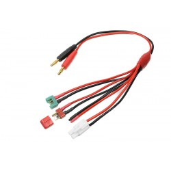 GF-1200-145 Cordon de charge - Universel 4en1 - Tamiya, MPX, Deans, Free wire - 16 AWG cble silicone - 1 pc