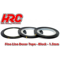 HRC5061BK15 Ligne de déco fine et autocollante - 1.5mm x 15m - Noir Metallic (15m)