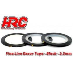 HRC5061BK25 Ligne de déco fine et autocollante - 2.5mm x 15m - Noir Metallic (15m)