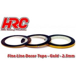 HRC5061GD25 Ligne de déco fine et autocollante - 2.5mm x 15m – Doré Metallic (15m)